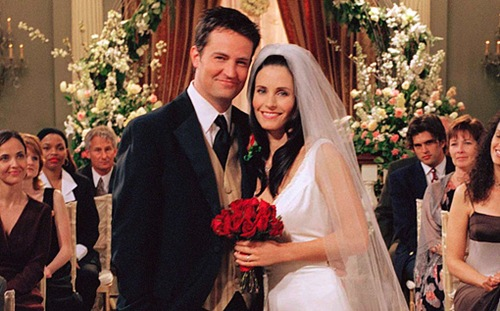 "FRIENDS -- NBC Series -- Season 7: ""The One With Monica And Chandler's Wedding Part II -- Pictured: (l-r) Matthew Perry as Chandler, Courtney Cox Arquette as Monica -- Photo: Copyright 2004 Warner Bros. Television Production Inc.  These photographs, which are the copyrighted material of Warner Bros. Television Production Inc., are being submitted to you for only the following limited purpose: for publicity, promotion or advertising of the series ""Friends"". You must obtain all other authorizations, consents and releases (other than copyright permission which we have granted to you as set forth herein) and pay all compensation required by any applicable collective bargaining agreement, any individual agreement or otherwise required by law. These photographs are not transferable, may only be used until May 31, 2004 and may not be used in any ""special"" or ""stand alone"" issues of your pulications without prior written permission. Your use of these photos shall constitute acceptance of the above terms."