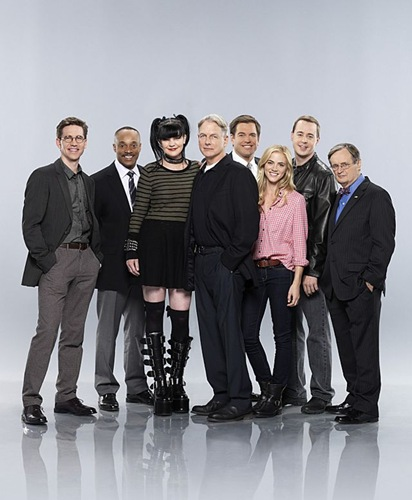The cast of NCIS. Pictured from left to right: Brian Dietzen, Rocky Carroll, Pauley Perrette, Mark Harmon, Michael Weatherly, Emily Wickersham, Sean Murray and David McCallum. NCIS airs  Tuesdays (8:00-9:00 PM, ET/PT) on the CBS Television Network.  Photo: Kevin Lynch/CBS  ©2014 CBS Broadcasting Inc. All Rights Reserved